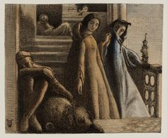 James Smetham - The Eve of St Agnes 1858.  This drawing illustrates a passage from John Keats's poem 'The Eve of St Agnes' which was published in 1820. Madeline, with her lover Porphyro, is fleeing by night from that 'mansion foul' which is her home. This is probably a sketch for a picture which Smetham exhibited in Liverpool in 1859.