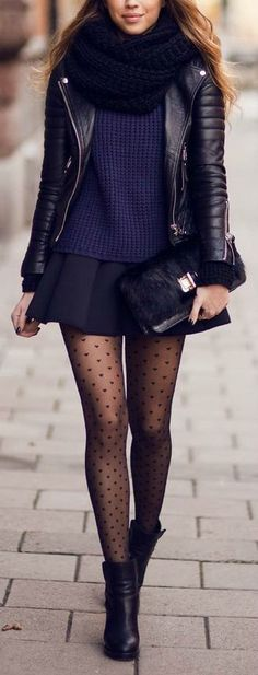 Navy sweater, black leather jacket, mini skirt, patterned tights, fall outfit
