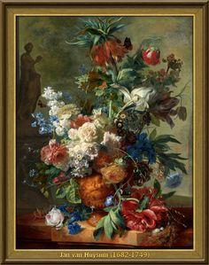 Jan van Huysum - Stilleven met bloemen (1723)