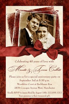 40 Years of Deep Love Anniversary Invitation - Wedding Ruby Photo