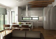 Otvorený strop v obývačke a v kuchyni spojenej s j...