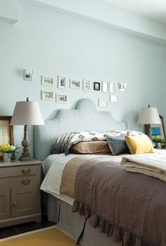 Bedroom with Farrow & Ball's Skylight No. 205 on the walls