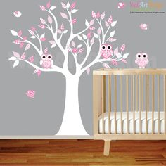Vinyl Wall Decal Stickers White Pink Owl Tree Set Nursery Girls Baby