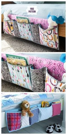 DIY Bedside Pocket Organizer Free Sewing Pattern & Tutorial - Knitting is . , DIY Bedside Pocket Organizer Free Sewing Pattern & Tutorial - Knitting is . Easy Sewing Projects, Sewing Projects For Beginners, Sewing Hacks, Sewing Tutorials, Sewing Crafts, Sewing Tips, Diy Gifts Sewing, Baby Diy Projects, Scrap Fabric Projects
