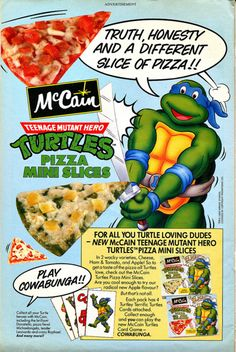 McCain Teenage Mutant Ninja Turtles Mini Pizza | 19 Cartoon-Themed Foods And Snacks From The '90s You Might Not Remember...  Gross!!!  As much as I love the turtles, don't remember this nor do I think I woulda ate it :-/ that green and yellow pizza looks nas!!!