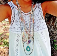 All new necklaces ($39.99-58) now in store at #Tria! Layer them up or keep it simple! Call 844.232.7364 to order with free shipping! #jewelry #lace #summerstyle