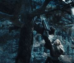 Kíli helping Fíli into a tree<-- Do you know how strong you have to be to pull a heavy dwarf up into a tree with one arm? Ask Kili.