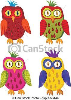 Vector - owl set - stock illustration, royalty free illustrations, stock clip…