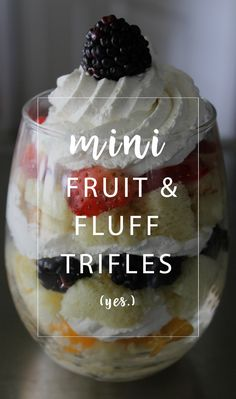Mini Fruit Fluff Trifles are delicious little cups of cake, cheesecake fluff and your favorite fruits. Personal + pretty desserts to enjoy. Fruit Trifle Desserts, Mini Desserts, Easy Desserts, Delicious Desserts, Yummy Food, Yummy Recipes, Kraft Foods, Kraft Recipes, Mini Trifle