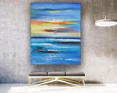 Blue Abstract Wall Art Abstract Painting Large Wall Art | Etsy