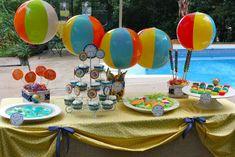 splash party decoration...beach balls!