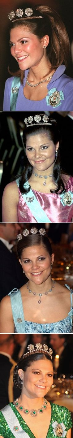 The 4 button tiara is one of the favories of Victoria at the nobels.  photo 1; Nobel 1997  photo 2; Nobel 2000  photo 3; Nobel 2003  photo 4; Nobel 2012