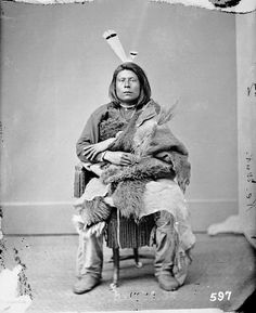 Portrait (Front) of Cu-Roox-Ta-Ri-Ha (Good Bear) - Pawnee in Native Dress JUN 1867 by William Henry Jackson (1843-1942)
