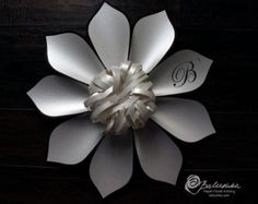 Medium Paper Flower with Custom Initials or Logo 2 Color Great Wedding Gift or Keepsake