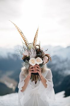 A beautiful winter bouquet as whimsical and grounded as the mountains. #TOMSWedding