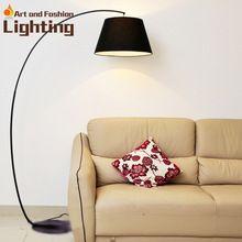 Creative Modern Floor Lamp Ikea Style LED Fishing Floor Light Linen Lace White Red Black Light Shade(China (Mainland))
