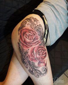 Tattoos, Instagram Posts, Thighs, Flowers, Tatuajes, Tattoo, Tattos, Tattoo Designs