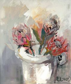 abstract oil painting of proteas - Google Search Protea Art, Art Floral, Abstract Flowers, Painting Flowers, Flower Paintings, South African Artists, Grey Art, Flower Canvas, Naive Art