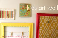 Can't wait to do this! Repaint frames from Goodwill and use clothespins to display kids' artwork. Hang a whole wall of frames for an art wall.