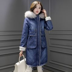 0e7f95634c250 2018 Warm Winter Long Bomber Women Spring Autumn Hooded Coat Jeans Denim  Jackets Basic Ladies Windbreaker Female Large Plus Size    Click picture  for ...