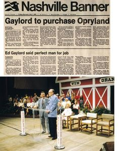 In 1968, National Life became part of the NLT corporation, and in 1982, American General launched a hostile takeover. As such, the Opry was sold in 1983 to the Gaylord Corporation.