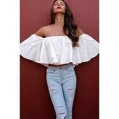 White Off Shoulder Ruffle Chic Crop Top ($17) ❤ liked on Polyvore featuring tops, white, ruffle top, off the shoulder crop top, flutter crop top, off shoulder crop top and flounce crop top