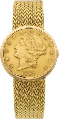 Starožitnosti: Náramkové hodinky, Universal Geneve $ činí 20 zlatých mincí hodinky.  ...