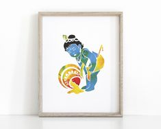 Krishna Hindu, Baby Krishna, Lord Krishna, Yoga Art, Printable Art, Printables, Small Canvas Art, Hindu Art, Wall Decals
