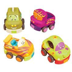 Cztery miękkie autka B. Toys - Wheeeels