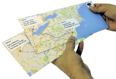 Google map envelopes. so simple and easy. Use the directions feature to put a blue line between the TO and the FROM.
