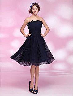 A-line Princess Strapless Knee-length Chiffon Cocktail Dress – USD $ 129.99