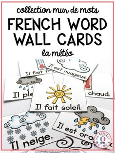 20 different FRENCH Weather word wall cards, in both colour and black & white. Use these to teach and review weather-themed vocabulary en français with your elementary French students, or as a support for their writing. Each card also includes a symbol to show if the word is masculin or féminin, allowing students to choose the correct article that makes sense in the context of their sentence.