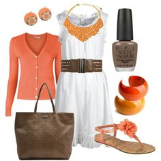 """orange & coral"" by htotheb on Polyvore"