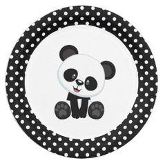 Panda Bear Black and White Paper Plates