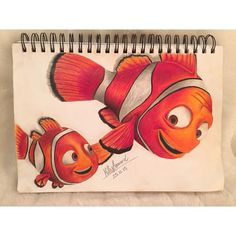 Finding Nemo's Marlin & Nemo. Hand drawn using Faber-Castell coloured pencils. Find on Instagram @milliehays