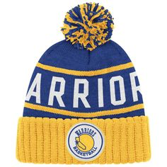 2bfb334c824 Golden State Warriors NBA  The City  Hardwood Classics High 5 Cuffed Knit  Hat - Royal   Gold - Golden State Warriors