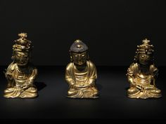 "Buddha Sculptures; The figure on the left makes the 'Karana-Mudrā' also known as 'Tarjanī-Mudrā;' from the 'Joseon Dynasty.'  A mudrā or ""Gesture""; is a symbolic or ritual gesture in Hinduism and Buddhism. While some Mudrās involve the entire body, most are performed with the hands and fingers. A Mudrā is a Spiritual-Gesture and an energetic seal of authenticity employed in the iconography and spiritual practice of Indian religions and traditions of Dharma and Taoism."
