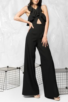 6587fe8b0d2 Amur Ruffle Black Jumpsuit - Main Image What To Wear To A Wedding
