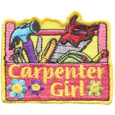 Carpenter, Girl, Tools, Hammer, Saw, Screwdriver, Tape Measure, Nail, Wrench, Patch, Embroidered Patch, Merit Badge, Badge, Emblem, Iron On, Iron-On, Crest, Girl Scouts, Boy Scouts, Girl Guides