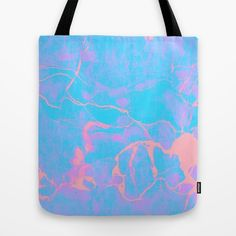 Pink and Blue Marble Tote Bag