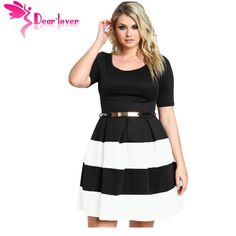 Dear-Lover Women Work Wear Short Sleeve A Line Burgundy Stripes Detail Belted Plus Size Skater Dress Vestido LC22806 cheap price