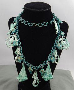 Vintage Green Enamel Wash Nautical Statement Charm Necklace Fish Mermaid Helm