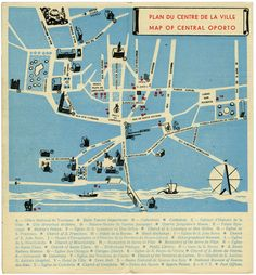 I always liked old maps. This one belongs to a 1960s Oporto brochure. Cool colors and graphics. Designer unknown.