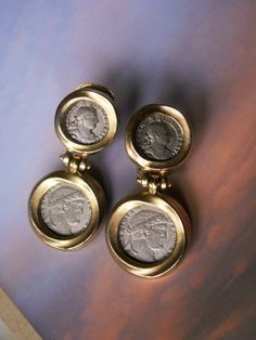 Vintage Ben Amun Roman Coin Clip On Dangle Earrings Designer Signed Matte Finish Runway Statement