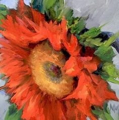Flame Paintings | Flame Sunflower, original painting by artist Nancy Medina ...