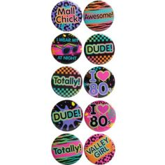 Totally 80s Buttons 10ct - Party City