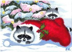 ACEO Print Raccoon Christmas Stocking Tree Snow | eBay