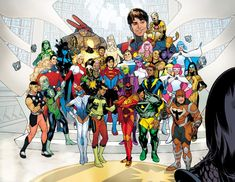 The Legion of Super-Heroes are a team of teen-age super-heroes in the and centuries of the DC Universe who were inspired by the adventures of Superboy/Clark Kent/Kal-El (Pre-Crisis). Cosmic Boy, Lightning Lad and Saturn Girl are the founding members. Superman V, Saturn Girl, Cosmic Boy, Timberwolf, Comic Book Publishers, Brian Michael Bendis, Legion Of Superheroes, Comics Universe, Teen Titans
