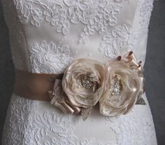 Idea :-) wouldn't pay this much though. would make myself. Vintage burlap rustic weddings bridal sash Beige blush taupe ivory 2 flower romantic - ribbon belt dress sash lace pearl.