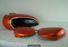 Honda cb 500 four sunrise flake orange Honda Cb 500, Cb550, Colour Shades, Ideas Para, Coaster, Tanks, Bullet, Sunrise, Dreams